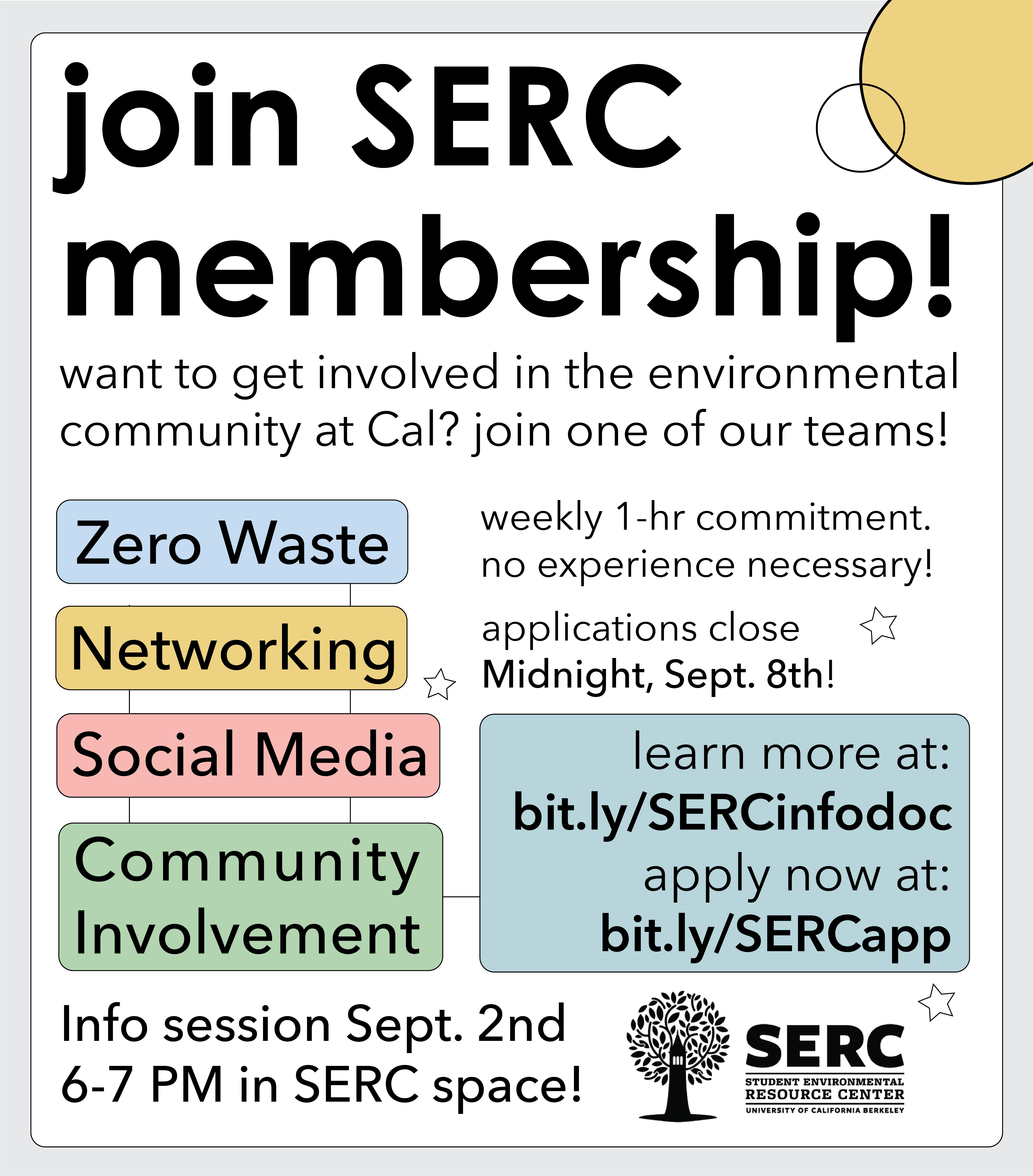 image entitled 'Join SERC membership!' and lists the 4 teams we are offering this semsester: Zero waste, Networking, Social Media, & Community Involvement. Applications due Midnight, Sept. 8th